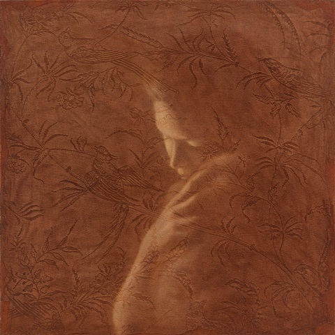 oil painting of a female figure with baby on a lace background by susan hall