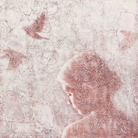 oil painting of a female figure girl with birds on a lace textured background by susan hall