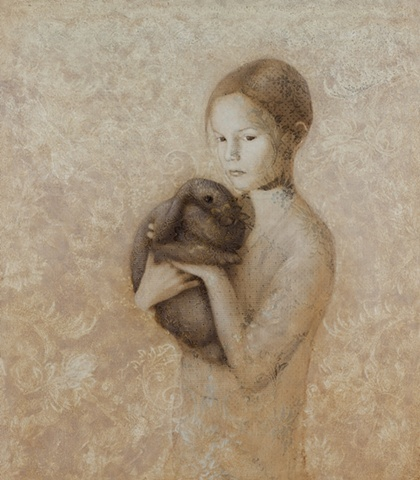 oil painting of a female figure girl with rabbit on a lace textured background by susan hall