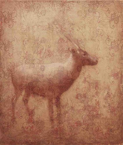 oil painting of caribou with lace by susan hall
