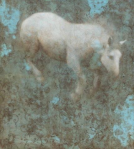horse, oil painting animal painting, lace, blue, brown