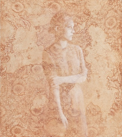 oil painting of a women figure on a lace textured background by susan hall