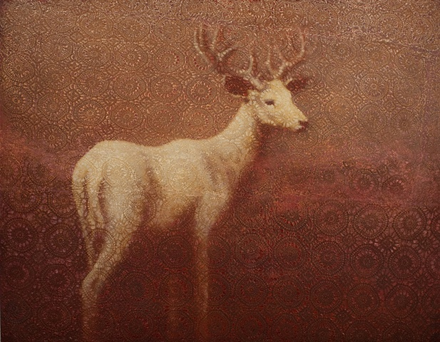 oil painting of a deer buck on lace crochet background red by susan hall