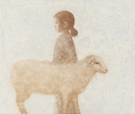 oil painting of a girl and lamb on lace textured background by susan hall