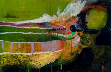 contemporary surreal acrylic painting abstract colorful bright bird hummingbird monster creature by abbeth russell