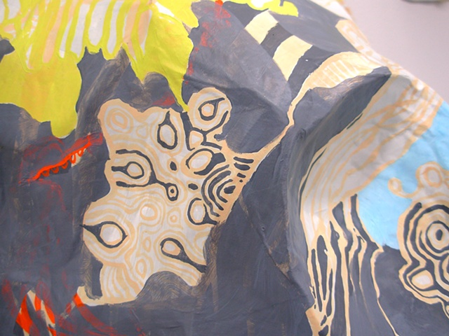 abstract three-dimensional relief sculpture in papier-maché, acrylic, and wire