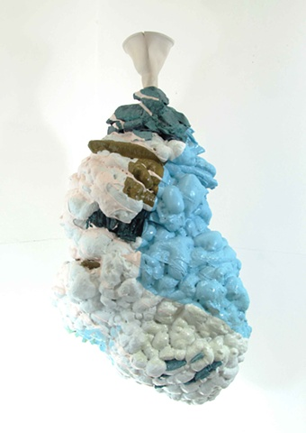 abstract three-dimensional sculpture in acrylic and latex paint, ceramic and foam