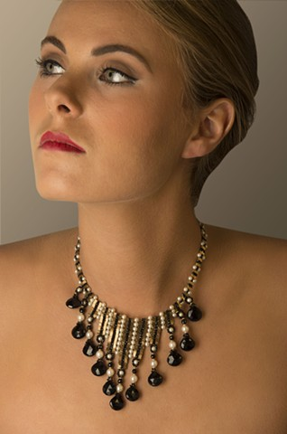 Model Wearing Goddess Necklace