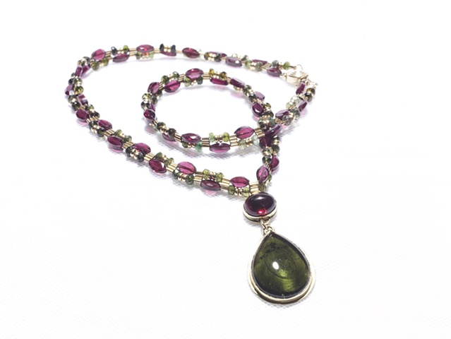 Green and Plum Tourmaline Pendant