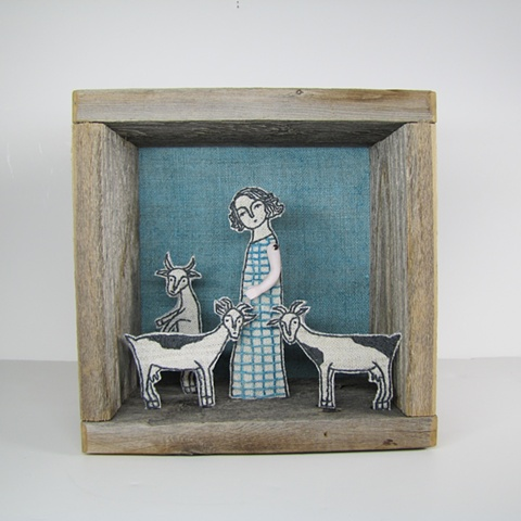 mixed media fiber art diorama embroidery antique reclaimed materials linen goats