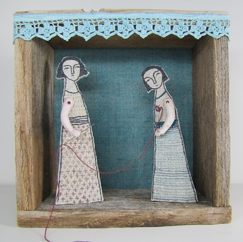 mixed media fiber art diorama embroidery antique reclaimed materials linen