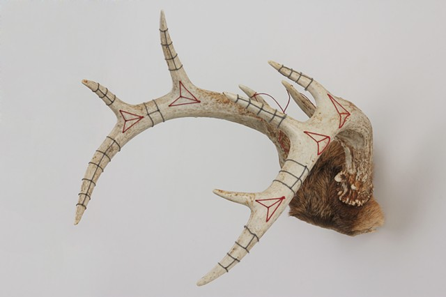 hand embroidered deer antlers