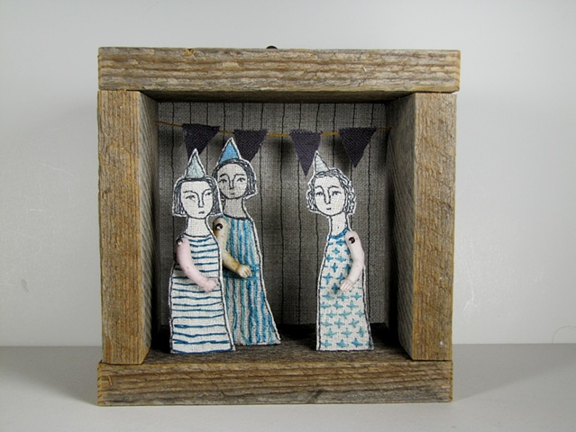 hand embroidered diorama by cindy steiler using antique materials such as bisque doll arms