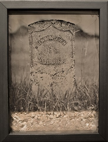 Ambrotype, Wet Plate, JR Larson, Photography, Land, Soil, Earth, Window Art, Land Art, Sculpture,Headstone, tombstone, Grave, Civil War, Unknown US Soldier, HOT BLIND EARTH, Ambrotype Sculpture, Mississippi, Faulkner, YaloStudio, Pinehurst, Art,