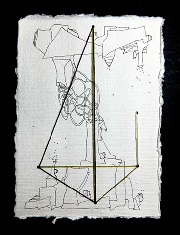 JR Larson, pyramid, point, drawing, thread, volumetric, string, detail, organic