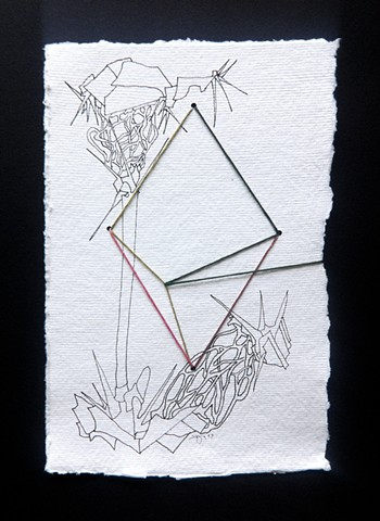 JR Larson, skipjack, drawing, thread, volumetric, string, detail, organic