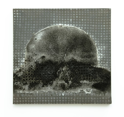 JR Larson, JR,  Bomb, skull,  painting, sculpture, Tar, black, minerals, pine tar, art, artist, war, artifact