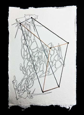 JR Larson, Wedge, Cheese, point, drawing, thread, volumetric, string, detail, organic