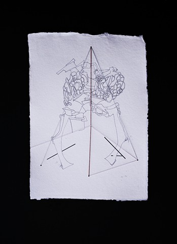 JR Larson, triangle, wig, fur box, drawing, thread, volumetric, string, detail, organic