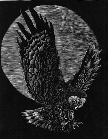 a relief engraving of an owl in flight at night under a full moon