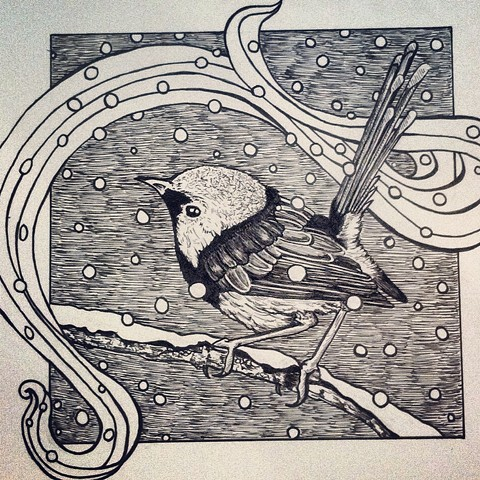 a pen and ink black and white drawing of a cute little bird in the snow twee indie emo banner hipster spofford press crosshatching