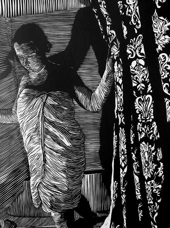 a linoleum cut linocut of a woman in a shower with damask shower curtains