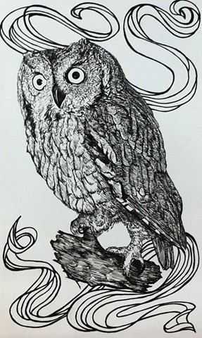 a pen and ink black and white drawing of a cute little owl with a banner twee indie emo banner hipster spofford press crosshatching