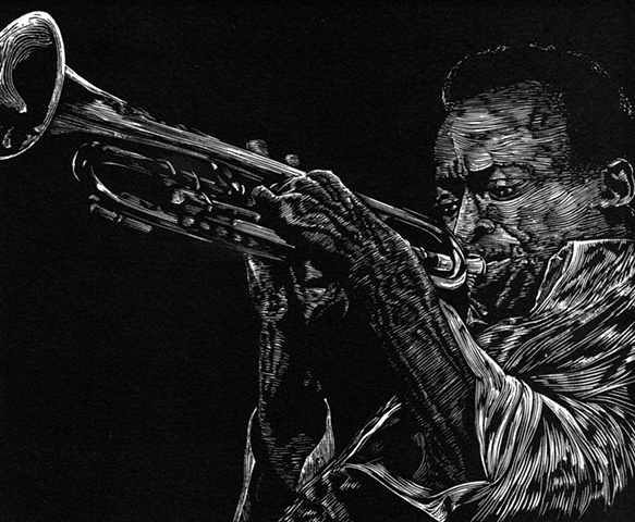 miles davis jazz musician print on paper trumpet engraving woodcut edition