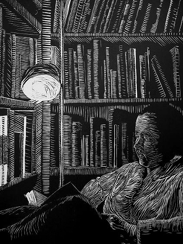 linoleum cut linocut of a woman in a library reading books