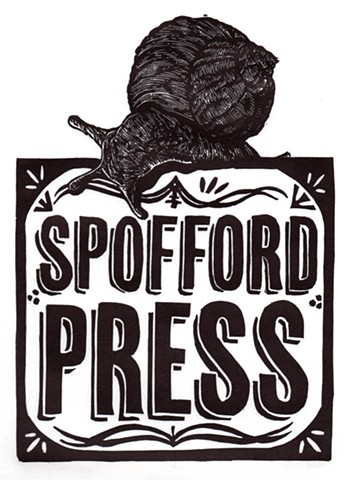 this is a wood engraving print linocut linoleum woodcut of a snail logo spofford press  in black and white printmaking