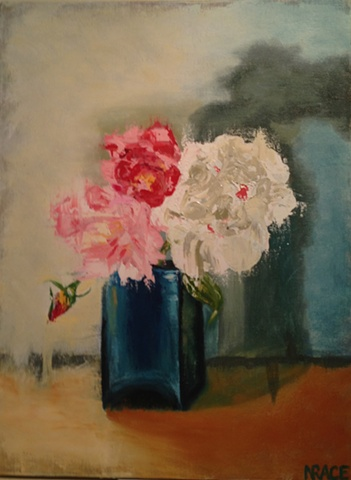 FLOWERS IN TURQUOISE VASE