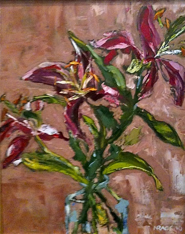 Lilies with palette knife
