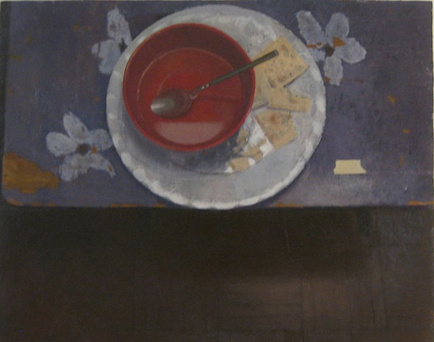 Red Bowl and Crackers on Purple Table