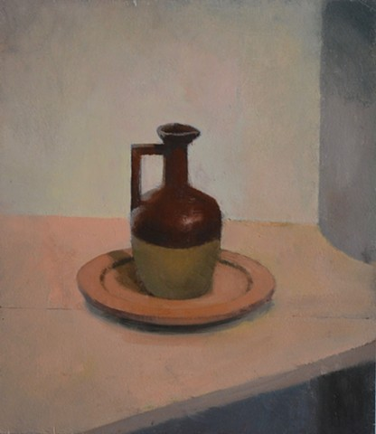 Two-Toned Jug on Wooden Plate