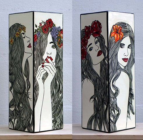 WITH FLOWERS IN THEIR HAIR VASE | Ceramic