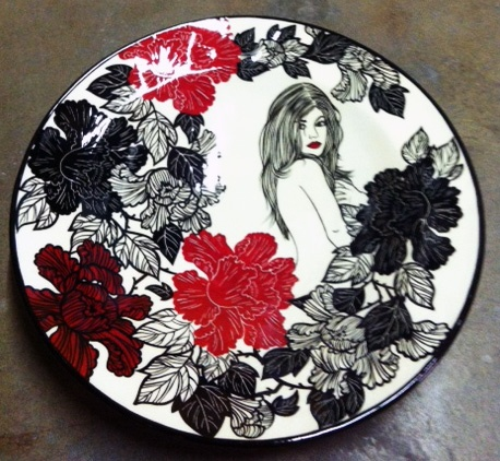 FLORAL PLATE - BLACK & RED NUDE #1