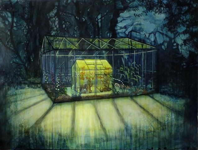 A greenhouse at night, lit with a collection of poisonous plants, caged in a house within a cage.