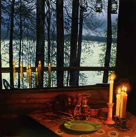 Twilight watched through the warmth of reflected candlelight.