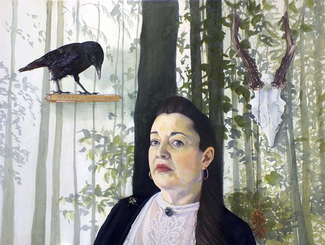 Self Portrait with crow, bee, leaf and skull