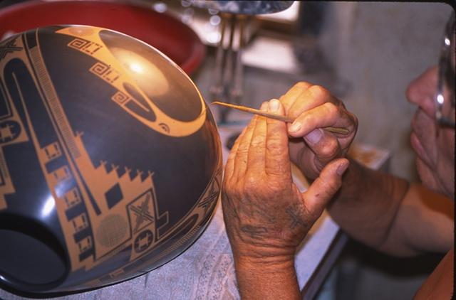 Juan Quezada painting closeup