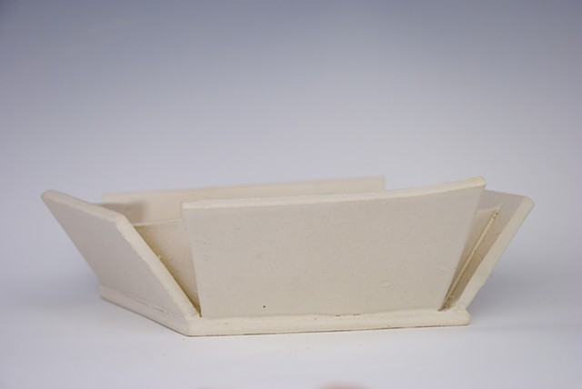 Small white folded planter