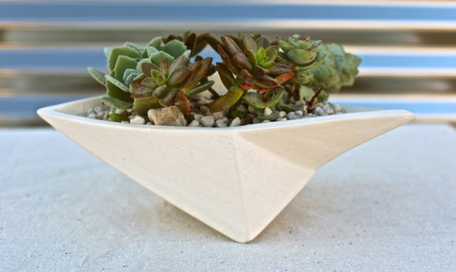 white matte geometric planter