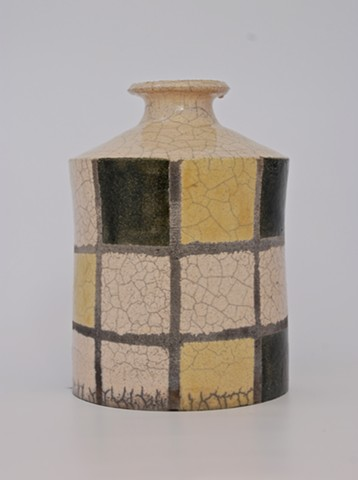 Black and yellow Raku bottle