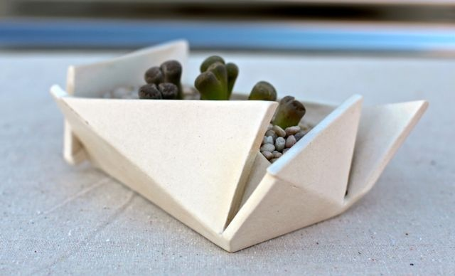 hand built white folded planter