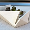 hand built white folded planter- SOLD