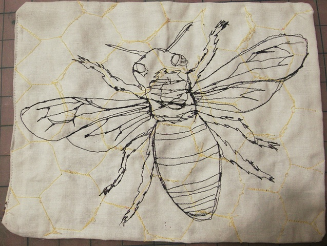 honey bee with honey comb stitched into cloth