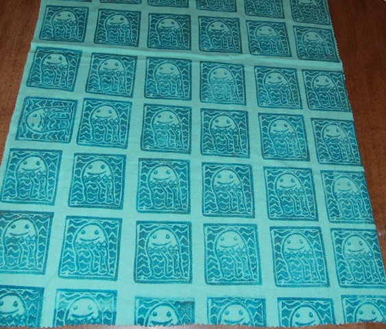 sea invaders hand printed fabric.