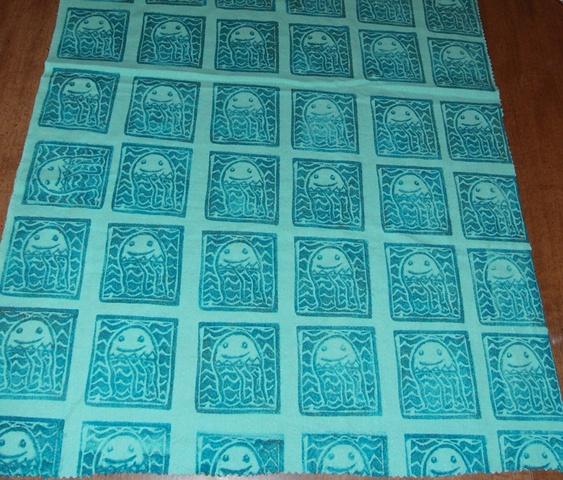 sea invaders hand printed fabric.
