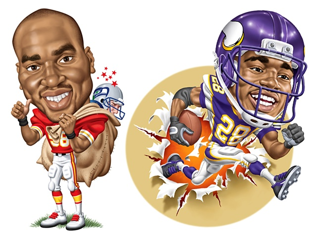 Caricatures of Derrick Thomas and Adrian Peterson