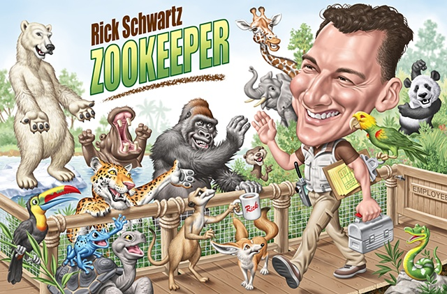 Illustration by Phill Flanders of Rick Schwartz, San Diego zookeeper